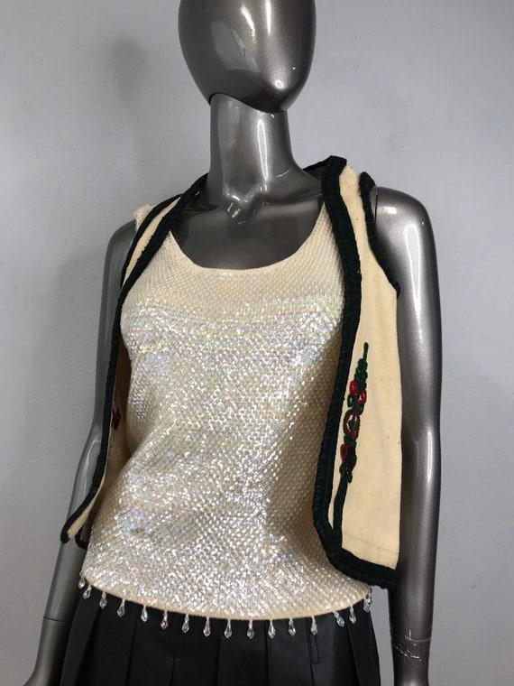 Beige Handmade Vest made of Thick Homespun Woolen