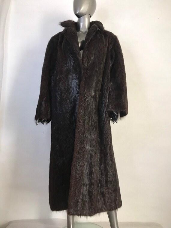 Brown mens coat from real nutria fur casual coat c