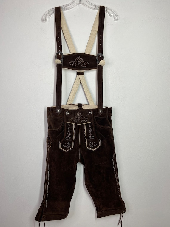 Brown Men's overall real suede soft suede vintage