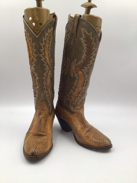 Yellow & brown boots, women's boots, snake leather