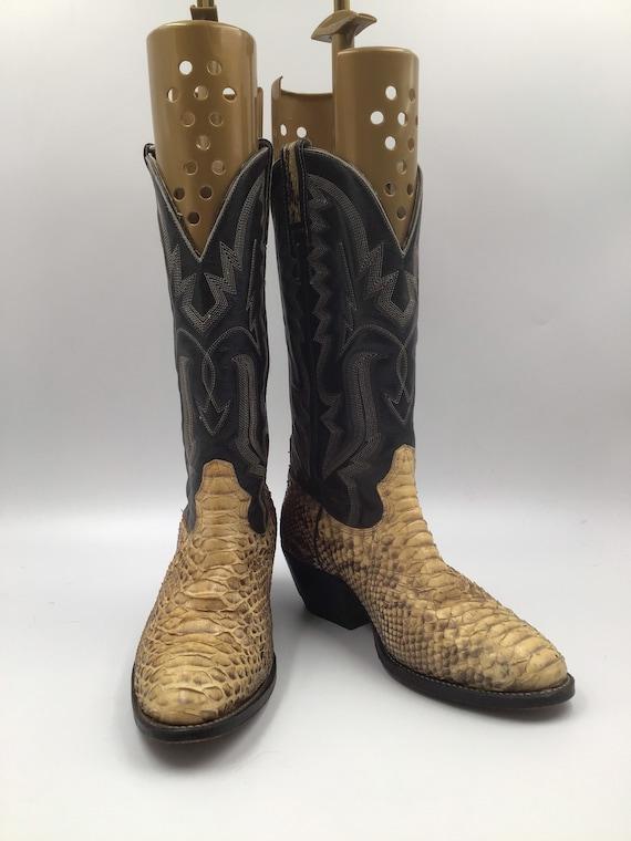 Yellow men's cowboy boots, python leather, vintage
