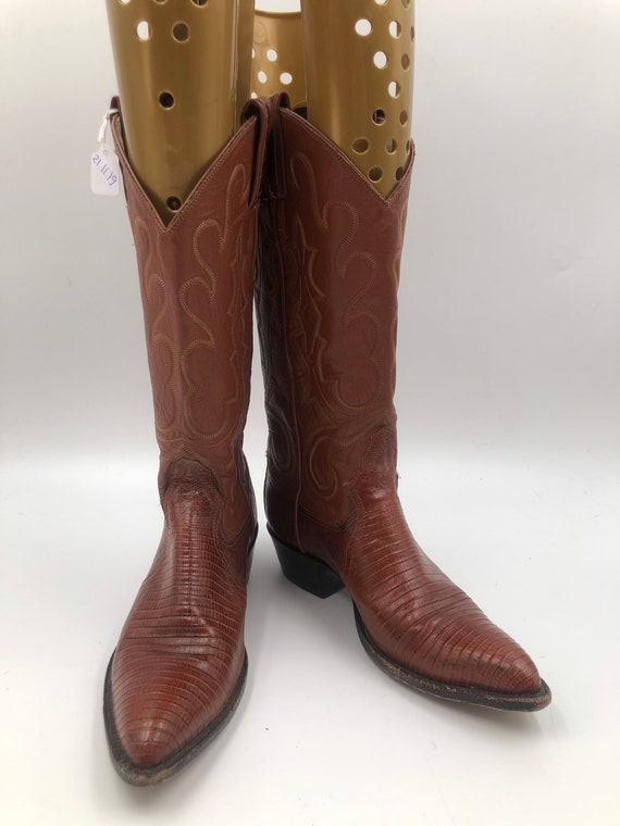 Brown boots, women's boots, lizard leather, vintag