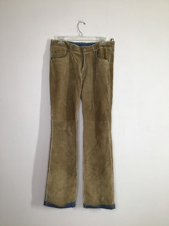 Beige suede woman's pants M