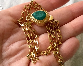 5b426577eb9 FRENCH VINTAGE Genuine EMERALD Gold Plated Necklace- Unique Design- Luxury  Huge Clasp- Genuine Emerald- Haute couture