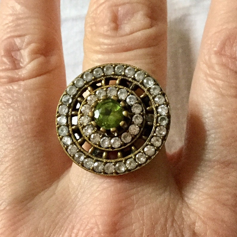 Natural Peridot /& White Topaz 925 Sterling Argent Engagement Ring