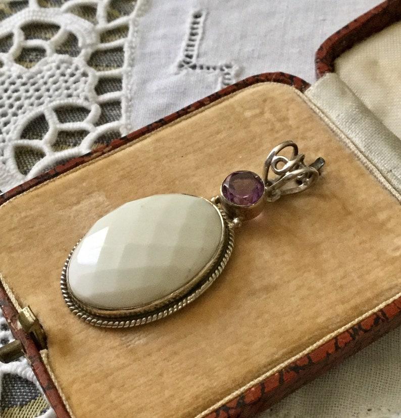 STUNNING I-even AMETHYST Sterling vintage pendant-very nice faceted natural white-Sterling-Amethyst-French vintage design