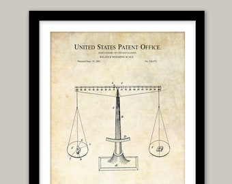 Official 1885 Patent Art Print Scales of Justice Attorney Judge Lawyer 45