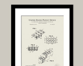 1920 Lincoln Logs Construction Set Patent Print Art Drawing Poster 18X24