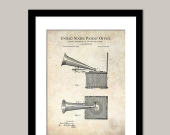 Poster Music Wall Art Gift Gramophone 1896 Patent Print Unframed