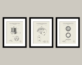 VINTAGE POKER Collection (3 Patent Prints) Antique poker chips, Playing cards, Game room decor, Poker room wall art, Gift for poker player