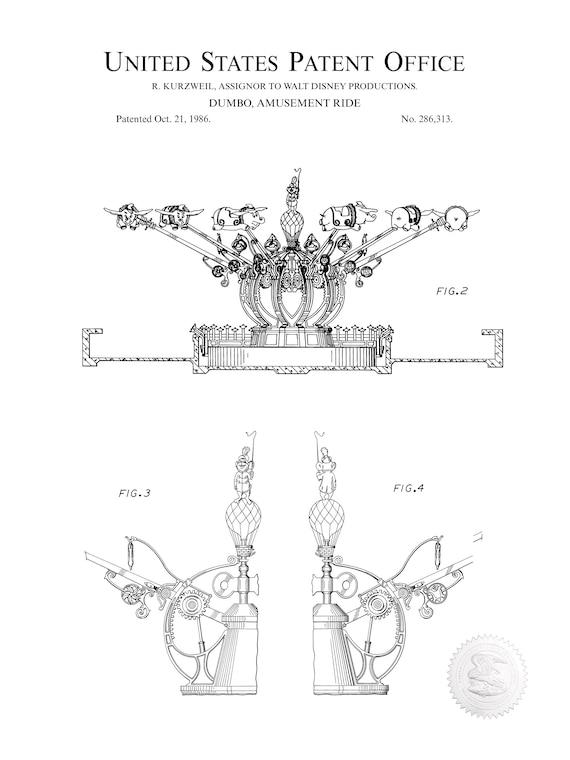 1986 Disney Dumbo Elephant Ride Patent Print Art Drawing Poster 18X24