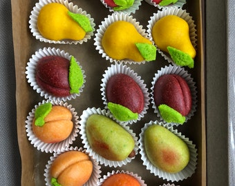 Marzipan(لوزينا), almonds and pistachios options, vegan ( organic raw cane sugar or dates sweetened). Or organic honey sweetened.