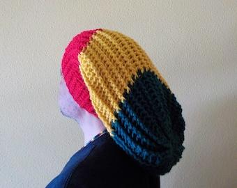 2fc76cb2ba2 MEGA Rasta Tam Merino wool Hat slouchy beanie Gorro Dreadlocks Reggae  Marley Hippie Surfer Adjustable