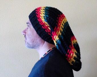 5018b3e4cf3 MEGA RASTA Tam Merino wool Hat slouchy beanie Gorro Dreadlocks Reggae  Marley Hippie Surfer Adjustable