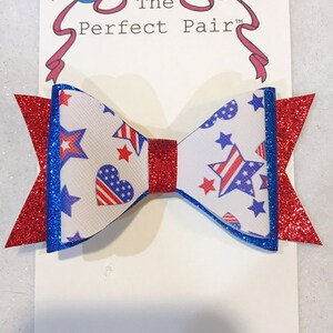 Patriotic unicorn hair bow clip headband red white blue glitter faux leather heart star tulle pin ornament fourth of July USA