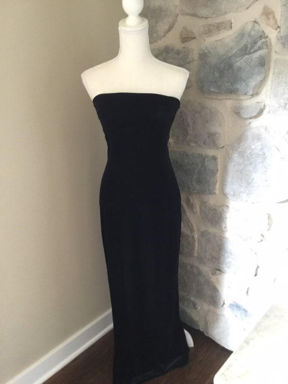 Formal Strapless Velveteen Long Dress