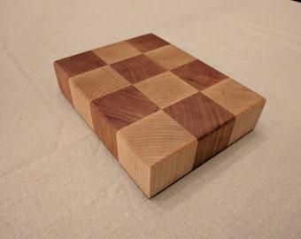 Handmade Maple and Black Walnut Miniature End Grain Checkerboard