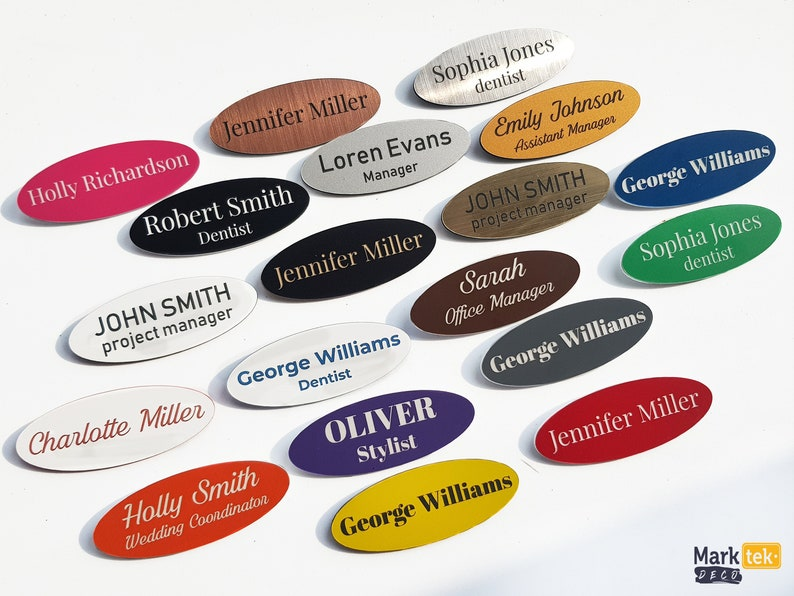 Oval shape name tag, Round personalized name badge with custom text,  optional pin or magnetic fitting, great as staff ID, gold, silver