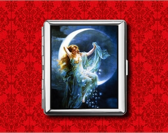 Swan In The Moonlight Metal Business Credit Card Case Holder