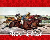 Horse Racing Jockey Kentucky Derby Belmont Stakes Triple Crown Vintage Cigar Label Blue Ribbon Vinyl Checkbook Cover Holder