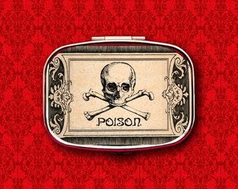 Poison Skull Crossbones Vintage Label Ring Trinket Stash Medicine Vitamins Gum Tic Tacs Mint Metal Pill Box Case Holder