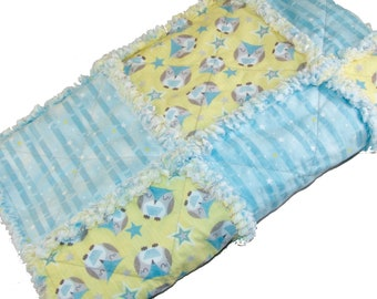 Owl Rag Quilt Crib Size 36x44 Gender Neutral Blue Yellow 100% Cotton - Baby Shower Gift