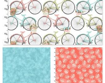 3 Yard Fabric Bundle - Beach Travel - Bicycles & Coral