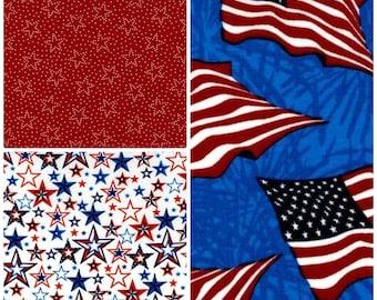 3 Yard Fabric Bundle - Patriotic Stars Flags Americana
