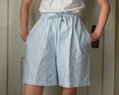 Vintage Liz Claiborne Liz Co Blue Striped Size Medium Women 39 s Drawstring Cotton Leisure Shorts