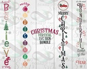 Christmas Vertical SVG Sign Bundle svg cut files and png, 4 Christmas vertical svg designs for cutting machines or print Instant Download