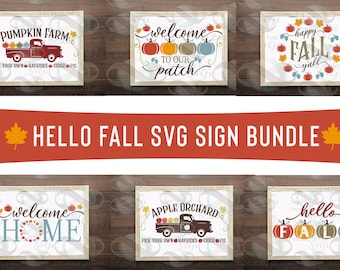Hello Fall svg cut files digital sign bundle, Farmhouse Fall svg files, 6 designs GREAT deal! For cutting machines or print Instant Download