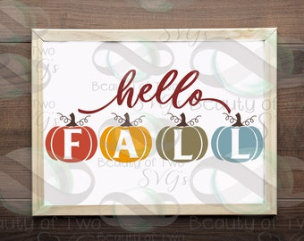 Hello Fall pumpkins svg cut file and png, Fall svg sign design, Fall pumpkins svg Autumn svg for cutting machines or print Instant Download