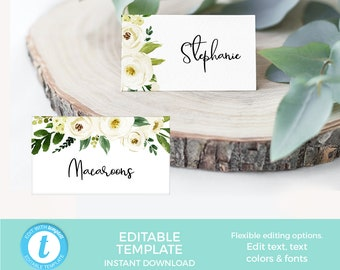 EDITABLE Modern name cards Printable Elegant Navy Place cards template Bridal Shower Food tents Engagement Party labels Wedding Labels