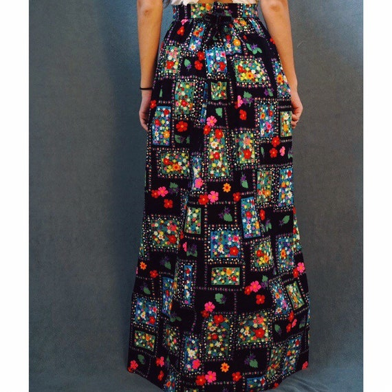 1970s Floral Maxi Skirt
