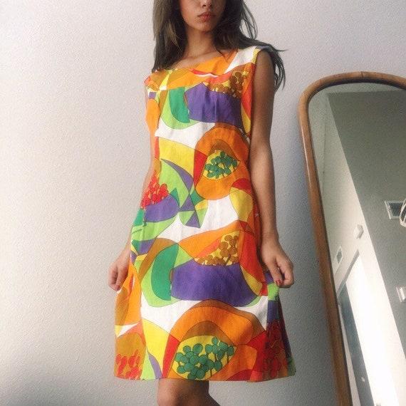 1970s Hawaiian Mini Dress