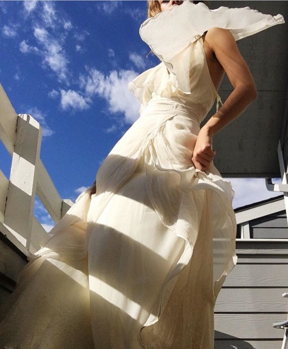 100% Raw silk 1960s halter dress