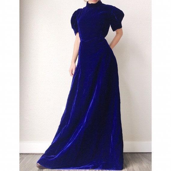1970s Electric Blue Velvet Dress