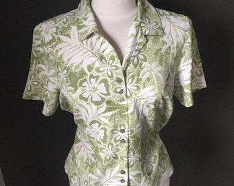 396e86d3 Large 12/14 Tommy Bahama Hawaiian All Silk Ladies Shirt