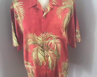 aa4cbb315 Medium Tommy Bahama Hawaiian all Silk Red Aloha Shirt