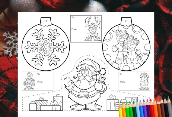 Printable Christmas Coloring Pages / Crafts For Kids / Etsy
