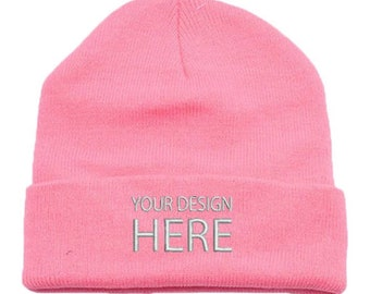 593318c9d83 Custom Embroidery Name Beanie Knit Cap W  Cuff - PINK   Unisex Beanie    Personalize Your Beanie