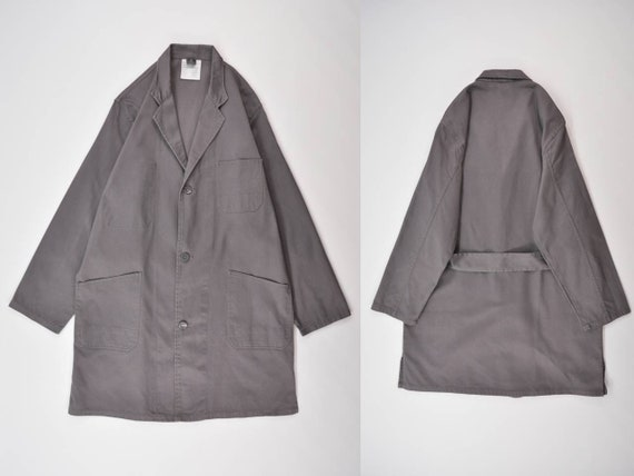 Vintage European Work Coat / Gray Shop Coat / Dust
