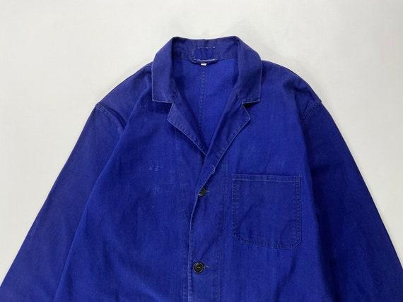 Vintage Faded Work Coat, Distressed Blue Shop Coat
