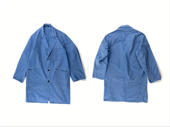 Vintage Work Coat, Blue Shop Coat, Duster Coat, Ar