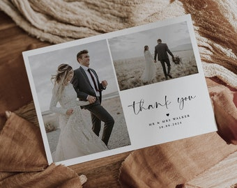 Thank you note template Thank you wedding Photo thank you card Self-Editing Instant download Thank you card template wedding Templett #f24