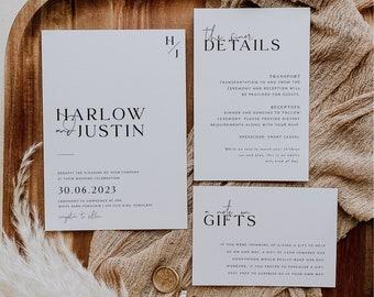 Minimalist Wedding Invitation Template Set, Wedding Invitation Template Download, Editable Modern Wedding Invite, Instant Download, Harlow