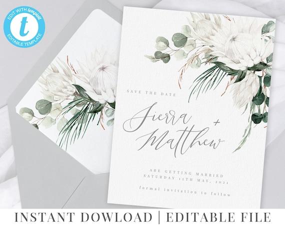 Eucalyptus Flowers Editable Template Bridal Shower White Protea Floral Invitation Printable Invitation Details Brunch