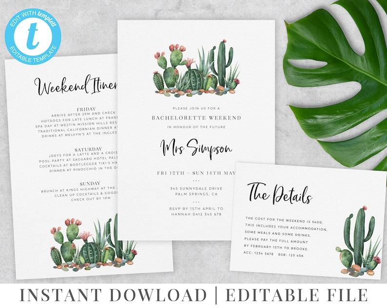 Itinerary Bachelorette Weekend Palm Springs Cactus Invitation Cactus Printable Invitation Hens Weekend Editable Template