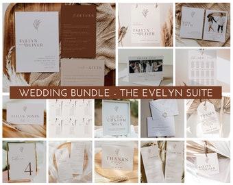 Wedding Invitation Set Bundle, Minimalist Wedding Invitation Template, Wedding Suite Printable Invitation, Boho Rustic, Editable , Evelyn