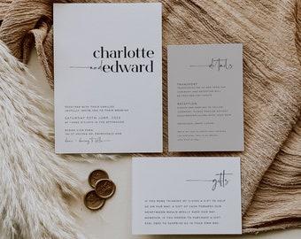 Minimalist Wedding Invitation Set, Simple Elegant Wedding Invitation Template, Printable Wedding Suite, Editable Wedding Invite, Charlotte